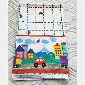 Vintage 80's Cars and Trucks Print Twin Flat Sheet